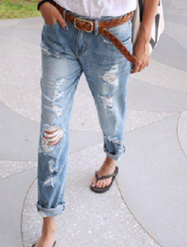 Stylish Bleach Wash Hole Design Loose-Fitting Denim Women&39s Jeans
