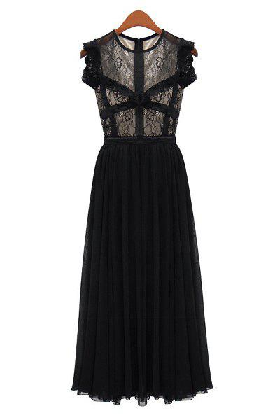 Lacework Splicing Pleated Fashionable Round Collar Sleeveless Women's Maxi Dress - BLACK S