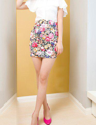 Retro Style Floral Pattern Print and High Waistline Design Skirt For Women - AS THE PICTURE S