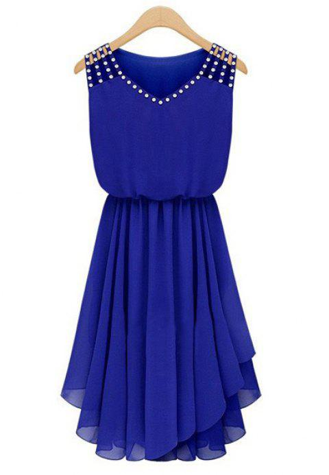 Stylish V-Neck Sleeveless Rhinestone Embellished Chiffon Dress For Women - SAPPHIRE BLUE L