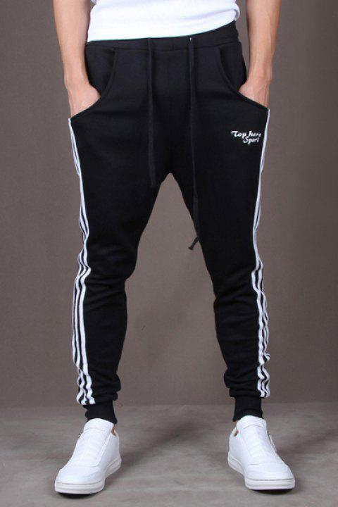 Casual Style Lace-Up Color Block Side Stripes Embellished Tiny Letters Print Slimming Elastic Cuffs Narrow Feet Men's Cotton Blend Pants - BLACK L