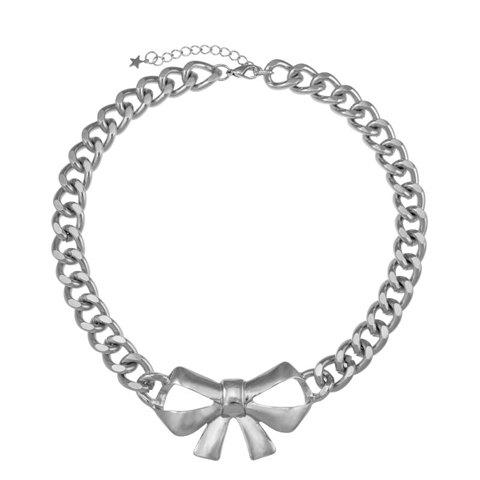 Openwork Bowknot Pattern Pendant Necklace - SILVER