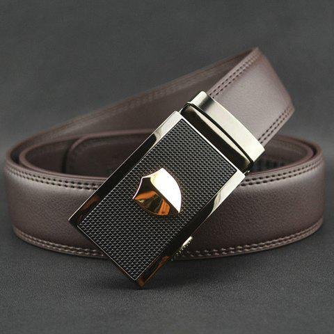 Stylish Chic Pattern Decorated Rectangle Buckle Waist Belt For Men - COFFEE