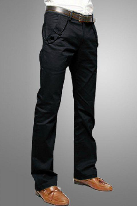 Casual Style Solid Color Zipper Fly Pocket Embellished Straight Leg Men's Cotton Long Pants - BLACK 34
