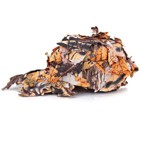 Outdoor Tactical Style Camouflage Cap Hat with Leaves Design - BROWN