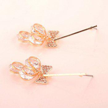 Pair of Sweet Cute Rhinestone Bowknot Pendant Earrings For Women - AS THE PICTURE