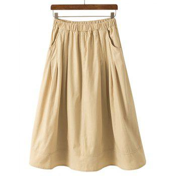Solid Color Elastic Waist A-Line All-Match Casual Style Women's Midi Skirt