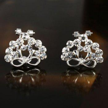 Pair of Stylish Chic Solid Color Rhinestone Bowknot Earrings For Women