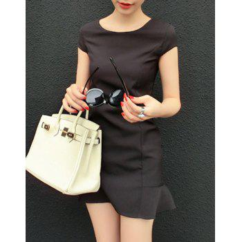Solid Color Simple Design Scoop Neck Short Sleeve Women's Dress - BLACK ONE SIZE
