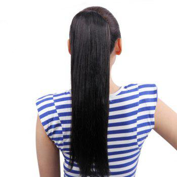 Simple Style Black Long Straight Fluffy High Temperature Fiber Women's Ponytail - BLACK