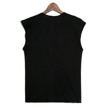 Casual Solid Color Short Sleeve Round Collar Letters Print T-Shirt For Men - BLACK BLACK