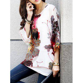 Bohemian Scoop Neck Floral Print Loose-Fitting 3/4 Sleeve Chiffon Blouse For Women - WHITE XL