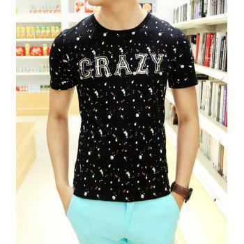 Trendy Short Sleeve Letters Print Round Collar Cotton T-Shirt For Men - BLACK L