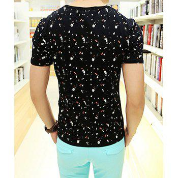 Trendy Short Sleeve Letters Print Round Collar Cotton T-Shirt For Men - L L