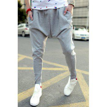 Korean Style Lace-Up Design Slimming Solid Color Personality Button Embellished Narrow Feet Men's Cotton Blend Parachute Pants
