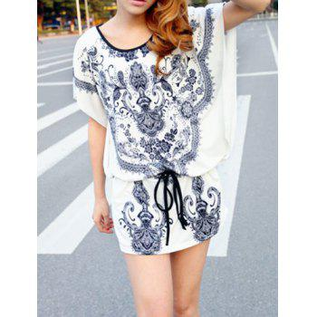 Stylish Scoop Neck Dolman Sleeve Printed Dress For Women