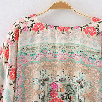 Floral Print Tassel Collarless 3/4 Sleeve Fashionable Women's Kimono - COLORMIX M