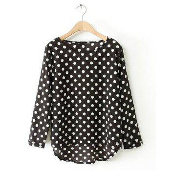 Polka Dot High-low Hem Scoop Collar Long Sleeve Stylish Women's Blouse