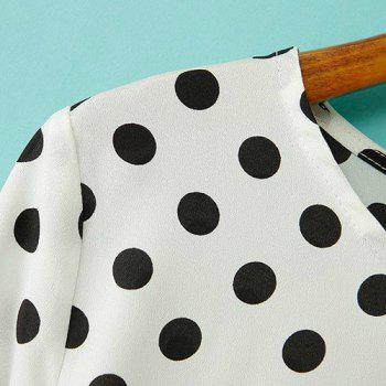 Polka Dot High-low Hem Scoop Collar Long Sleeve Stylish Women's Blouse - XL XL