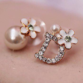 Pair of Asymmetric Letter D and Flower Shape Pearl Stud Earrings