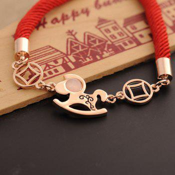 Horse Coin Decorated Rope Bracelet - AS THE PICTURE