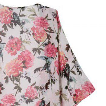 Floral Print Fashionable Collarless 3/4 Sleeve Women's Kimono - COLORMIX COLORMIX