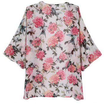 Floral Print Fashionable Collarless 3/4 Sleeve Women's Kimono - L L