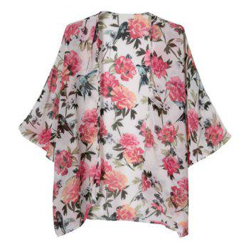 Floral Print Fashionable Collarless 3/4 Sleeve Women's Kimono - COLORMIX L