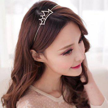 Simple Rhinestoned Openwork Crown Shape Hairband - SILVER WHITE SILVER WHITE