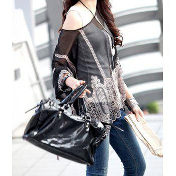 Stylish Scoop Neck Printed 3/4 Sleeve Chiffon Blouse For Women - XL XL