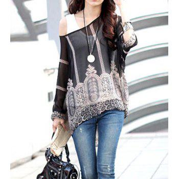 Stylish Scoop Neck Printed 3/4 Sleeve Chiffon Blouse For Women - BLACK XL