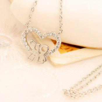 Delicate Cute Rhinestone Openwork Heart Figure Pendant Necklace For Women