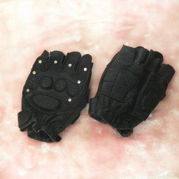 Pair of Stylish Chic Leather Rivet Decorated Fingerless Gloves For Men