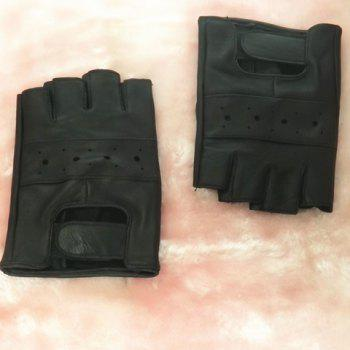 Pair of Casual Stylish Fingerless Leather Gloves For Men