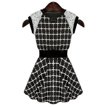 Fashionable Round Collar Checked Print Lace Splicing Sleeveless Women's Dress