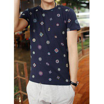 Simple Style Solid Color Round Neck Stylish Personality Geometric Print Slimming Short Sleeves Men's Cotton Blend T-Shirt - DEEP BLUE M