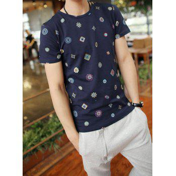 Simple Style Solid Color Round Neck Stylish Personality Geometric Print Slimming Short Sleeves Men's Cotton Blend T-Shirt - M M