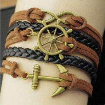 Helm Anchor Infinity Embellished Bracelet -  BROWN