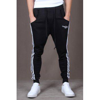 Casual Style Lace-Up Color Block Side Stripes Embellished Tiny Letters Print Slimming Elastic Cuffs Narrow Feet Men's Cotton Blend Pants