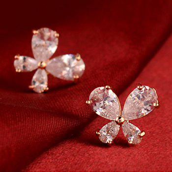 Pair of Zircon Embellished Clover Pattern Stud Earrings - COLOR ASSORTED