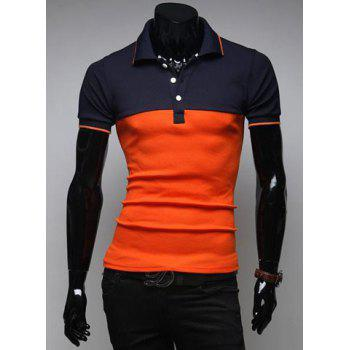 Korean Style Turn-down Collar Slimming Stylish Color Splicing Short Sleeves Men's Polyester Joker Polo Shirt