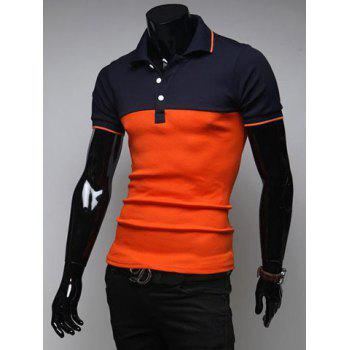 Korean Style Turn-down Collar Slimming Stylish Color Splicing Short Sleeves Men's Polyester Joker Polo Shirt - 2XL 2XL
