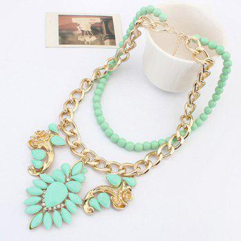 Layered Beads Flower Necklace - GREEN