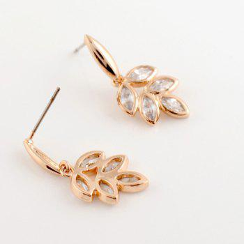 Pair of Zircon Leaf Pendant Earrings - CHAMPAGNE GOLD