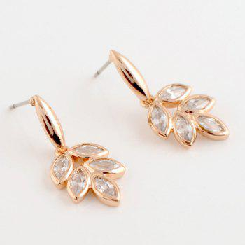 Pair of Zircon Leaf Pendant Earrings