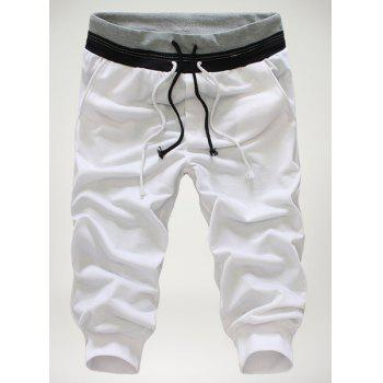 Buy Loose-Fitting Personality Double Lace-Up Design Hit Color Waist Slimming Elastic Cuffs Narrow Feet Men's Cotton Blend Cropped Pants WHITE