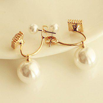 Pair of Faux Pearl Decorated Square Shape Earrings
