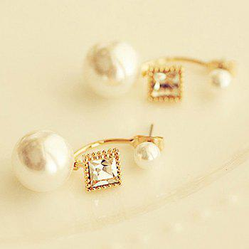 Pair of Faux Pearl Decorated Square Shape Earrings - AS THE PICTURE