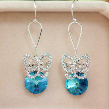 Pair of Exquisite Faux Crystal Embellished Openwork Butterfly Pattern Pendant Earrings For Women