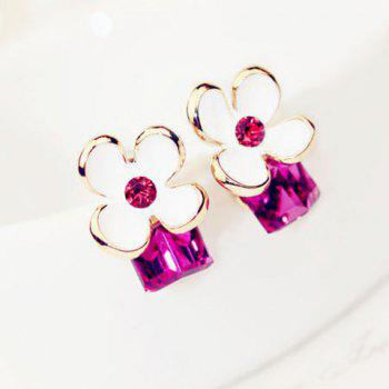 Pair of Cube Faux Crystal Decorated Flower Pattern Stud Earrings